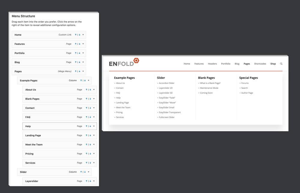 feature mega menu