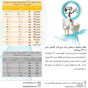 مکمل معدنی و ویتامینه مرغ مادر گوشتی راس ۳۰۸